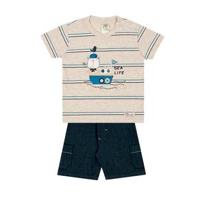 Conjunto-Camiseta-Meia-Malha-Fio-Penteado-Bermuda-Indigo-7-Oz-Listrado-Mescla-Banana-Indigo---Pulla-Bulla
