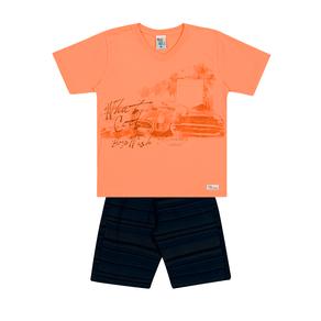 Conjunto-Camiseta-Meia-Malha-Flame-Fio-Penteado-Bermuda-Sarja-Laranja-Marinho---Pulla-Bulla