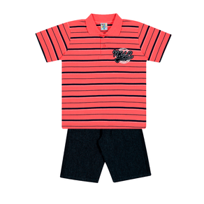 Conjunto-Camiseta-Meia-Malha-Fio-Tinto-Penteado-Bermuda-Indigo-7-Oz-Listrado-Coral-Indigo---Pulla-Bulla