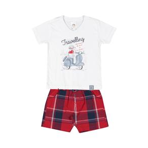 Conjunto-Camiseta-Meia-Malha-Fio-Penteado-Bermuda-Sarja-Fio-Tinto-Branco-Xadrez-Vermelho---Pulla-Bulla