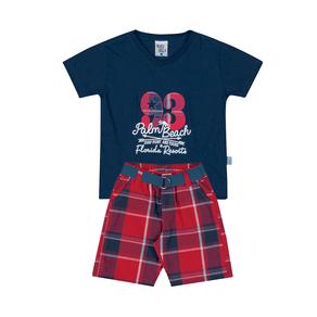 Conjunto-Camiseta-Meia-Malha-Fio-Penteado-Bermuda-Sarja-Fio-Tinto-Marinho-Xadrez-Vermelho---Pulla-Bulla