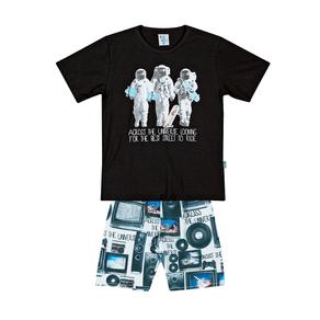 Conjunto-Camiseta-Meia-Malha-Flame-Fio-Penteado-Bermuda-Nylon-sublimado-Preto-Rotativo-Royal---Pulla-Bulla