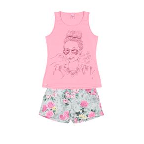 Conjunto-Blusa-Cotton-Leve-Fio-Penteado-Short-Sarja-Estampada-Rosa-Rotativo-Chiclete---Pulla-Bulla