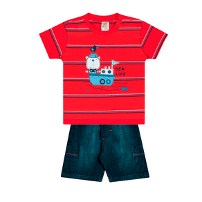 Conjunto-Camiseta-Meia-Malha-Fio-Penteado-Bermuda-Indigo-7-Oz-Listrado-Vermelho-Indigo---Pulla-Bulla