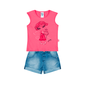 Conjunto Flamingo/Jeans Poá - Primeiros Passos Menina -Cotton/ Jeans