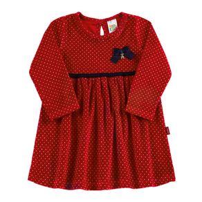 Vestido-Bebe-Menina---Poa-Vermelho---38515-1081-G---Pulla-Bulla---Inverno-2019