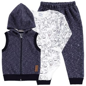 Conjunto Branco Bebê Menino Moletom 111057-3