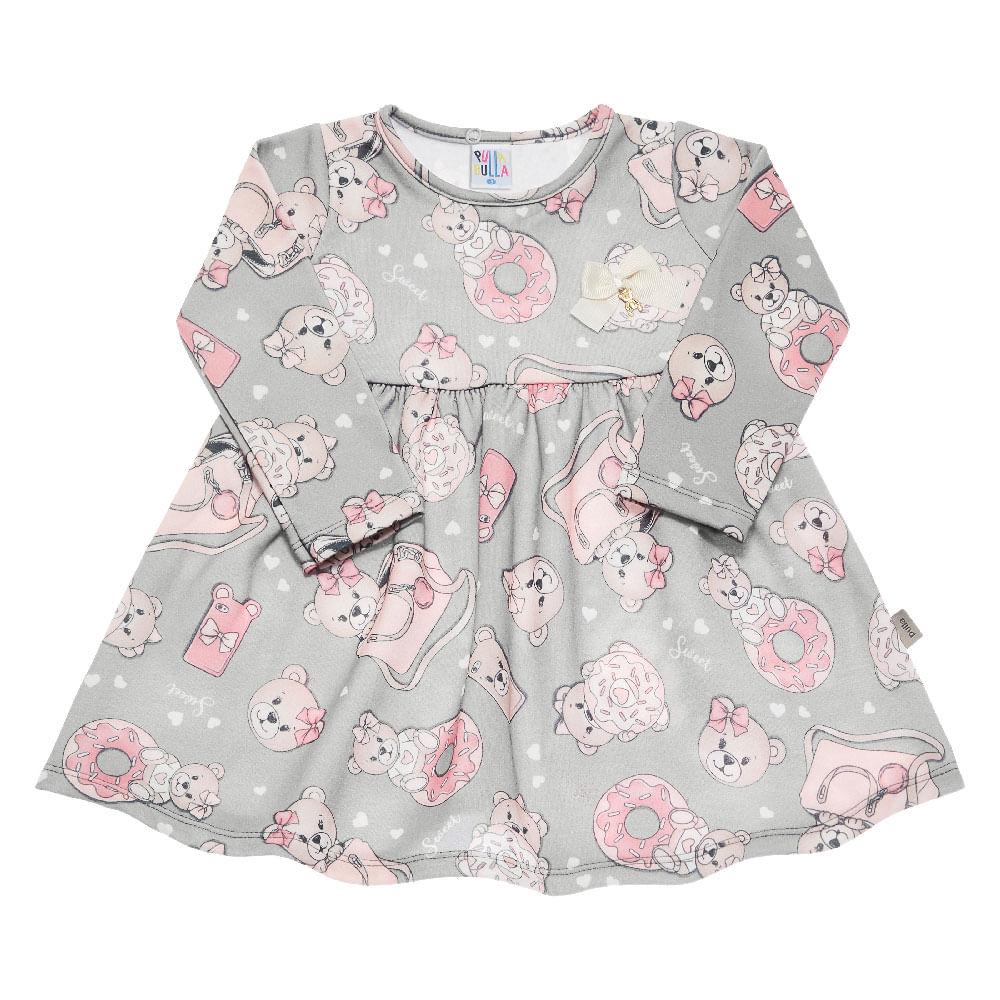 Vestido Sublimado Cinza - Bebê Menina Molecotton 42114-188
