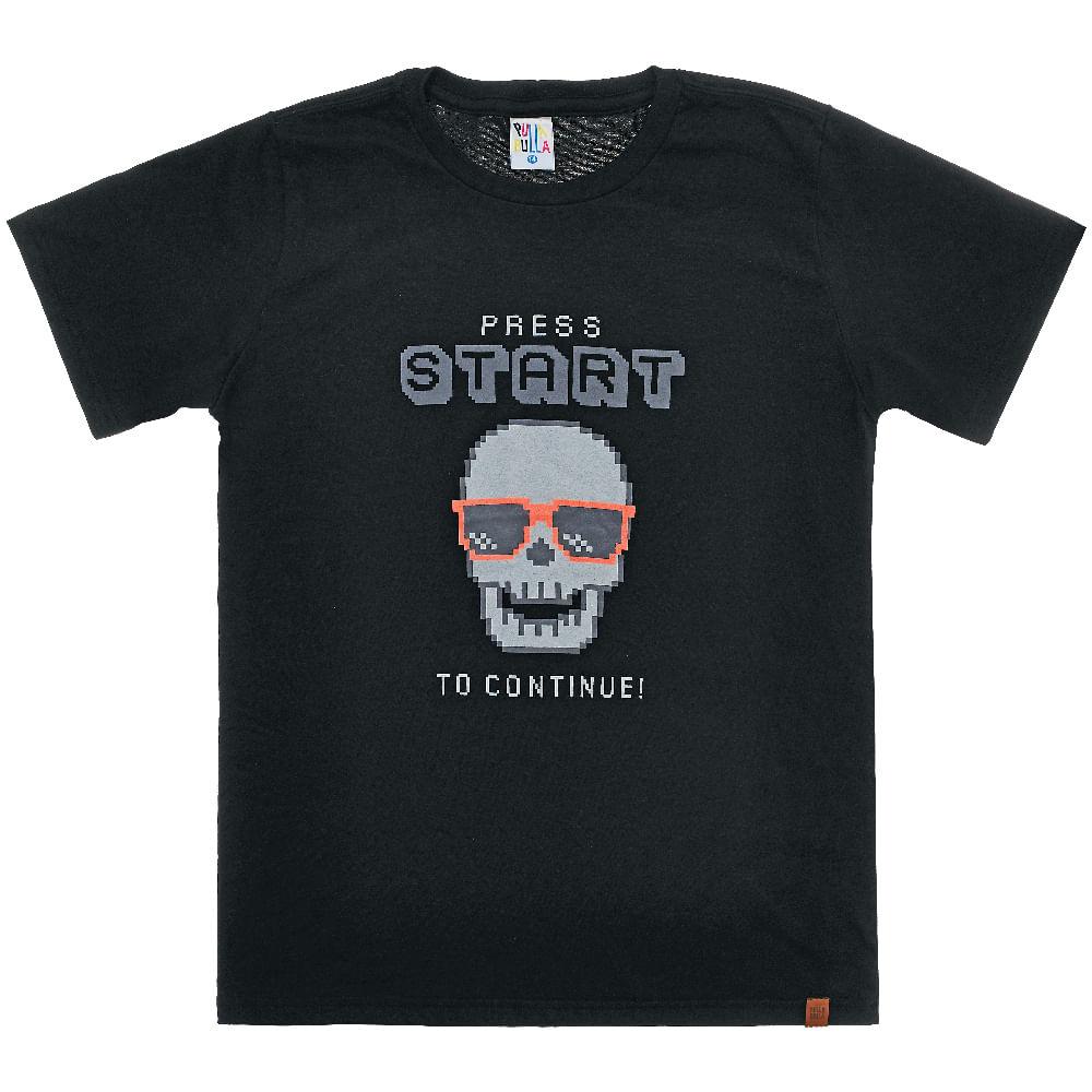 Camiseta Preto - Juvenil Menino Meia Malha 43955-51