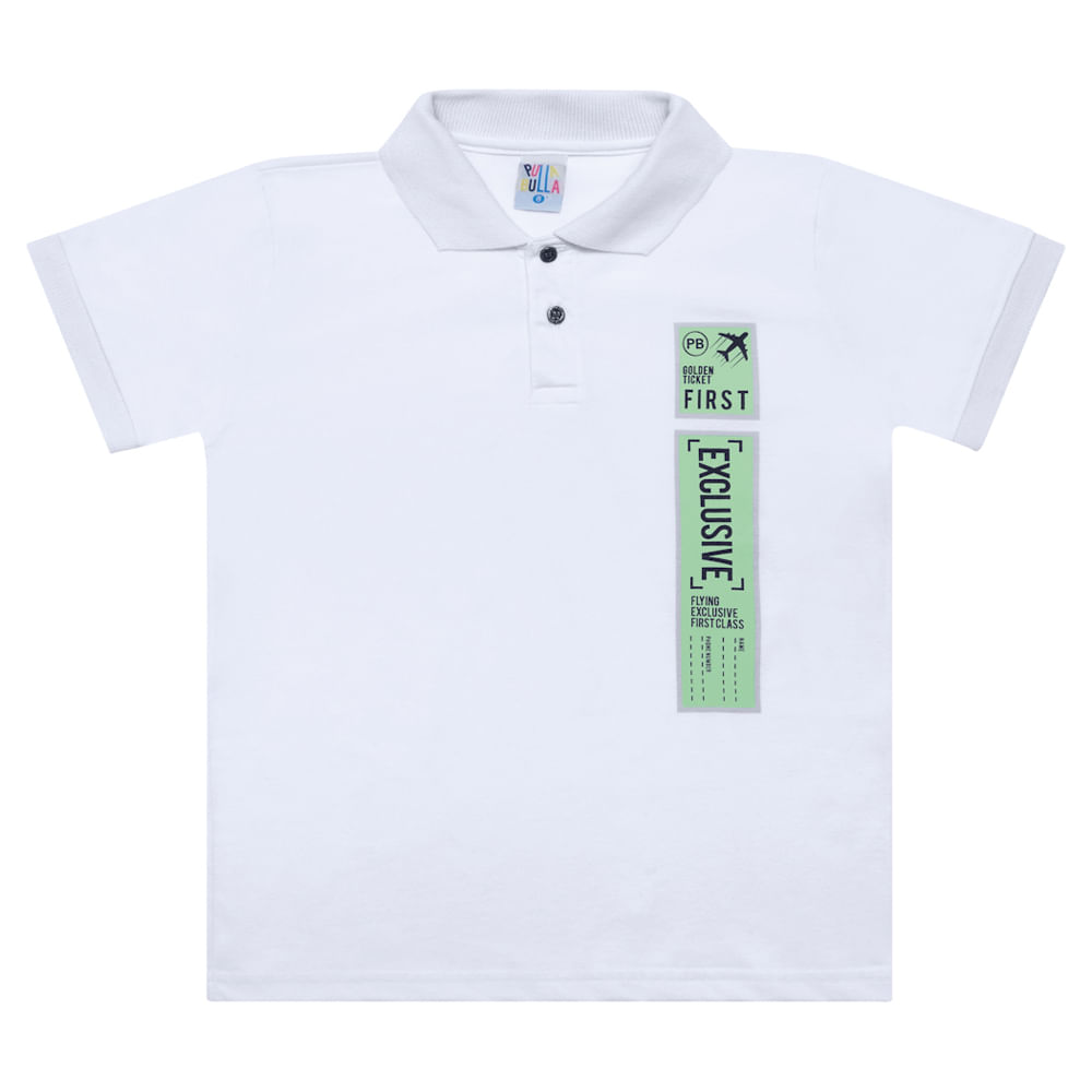 Camisa Polo Branco - Infantil Menino Meia Malha 44359-3