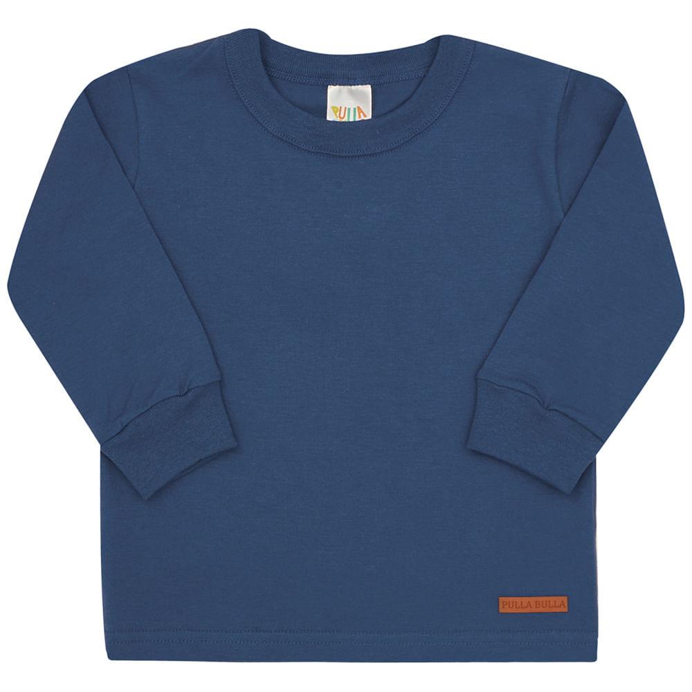 Camiseta Manga Longa Jeans - Bebê - Menino Meia Malha 45255-136