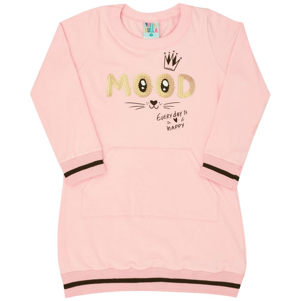 Vestido Manga Longa Rosê - Primeiros Passos - Menina Cotton 45315-11