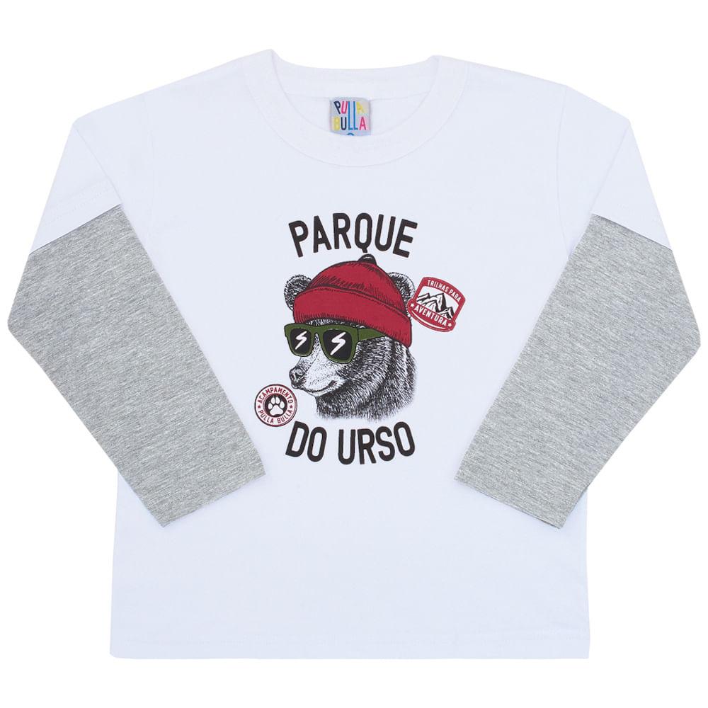 Camiseta Manga Longa Branco - Primeiros Passos - Menino Meia Malha 45354-3