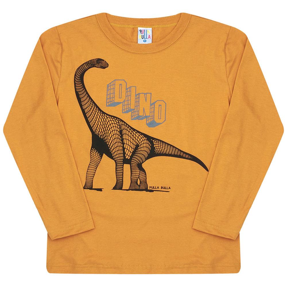 Camiseta Manga Longa Ocre - Infantil - Menino Meia Malha 45450-345