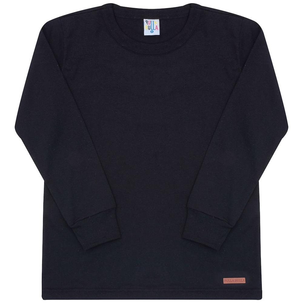 Camiseta Manga Longa Preto - Infantil - Menino Meia Malha 45456-51
